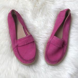 Pink Leather Ugg Slip On Loafers
